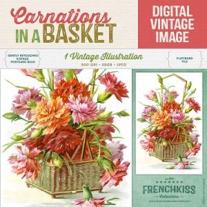 Carnations basket digital vintage postcard
