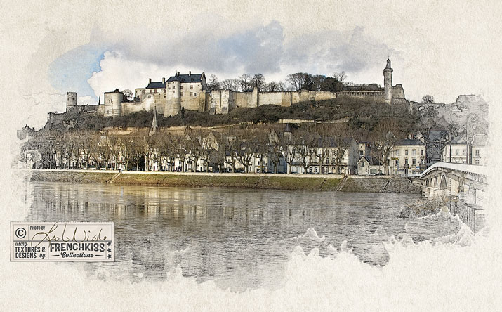 Chateau de Chinon as a photo illustration by Leslie Nicole