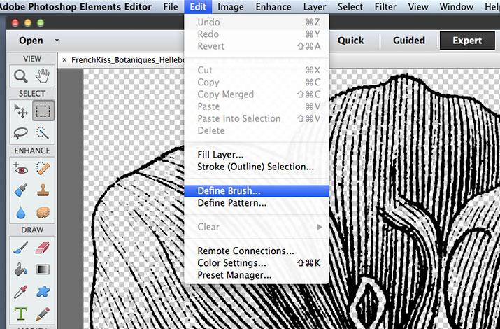 Define Brush from Edit menu.