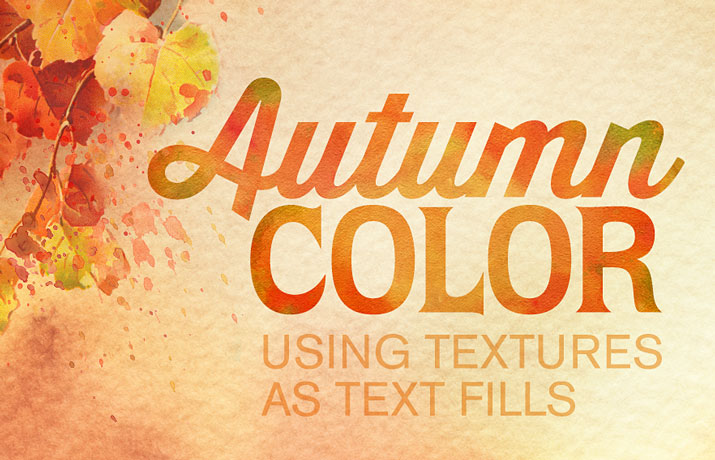 Autumn colors textures as text fill