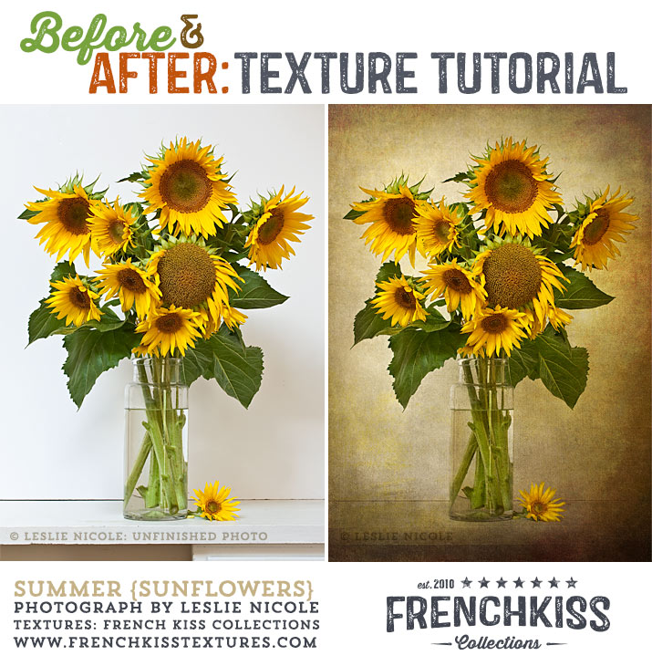 Before and After Textured Sunflowers