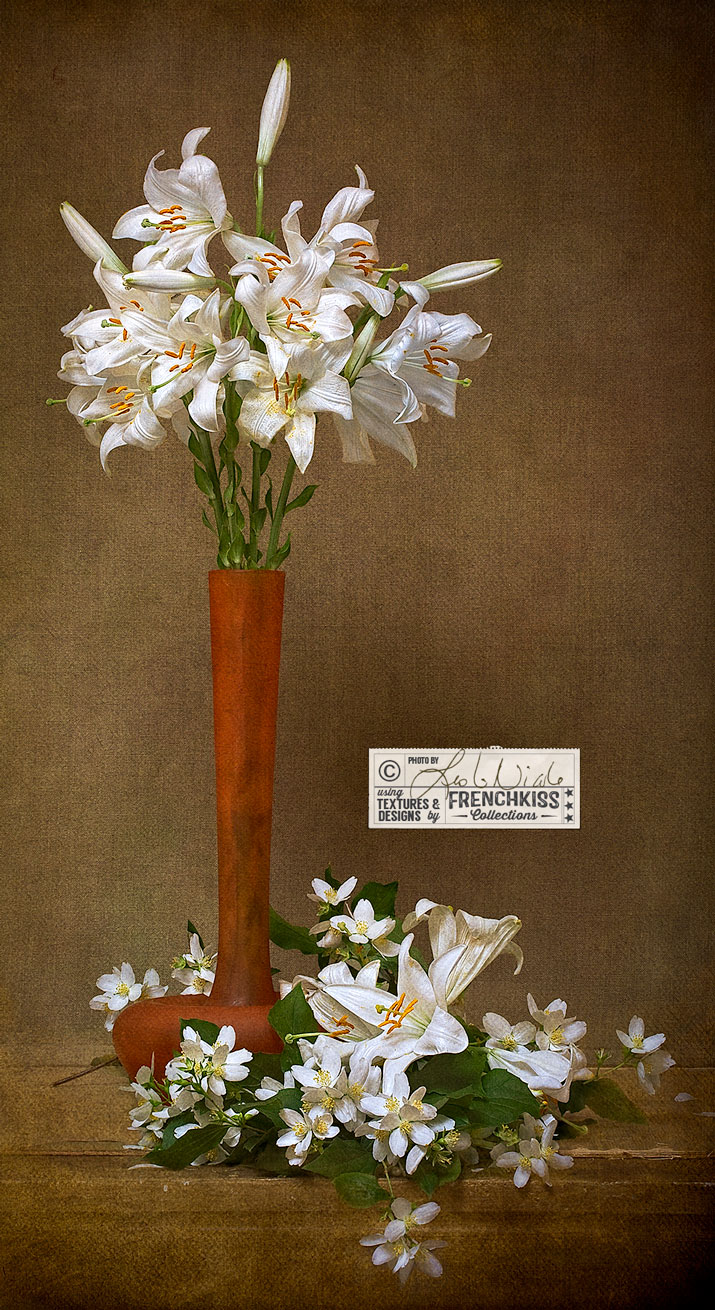 Textured Still Life Lilies Mock Orange