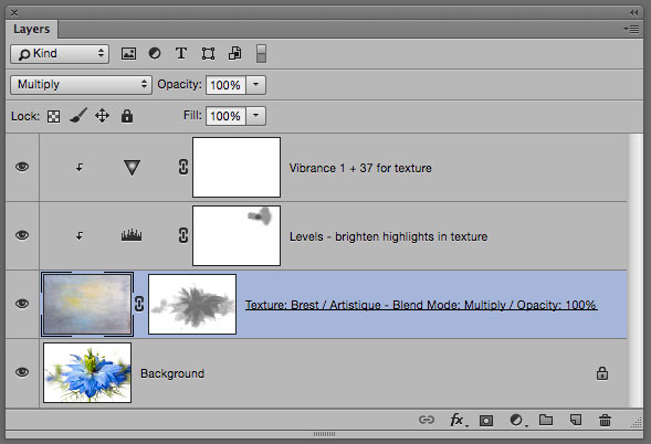 Photoshop Layer Panel showing texture