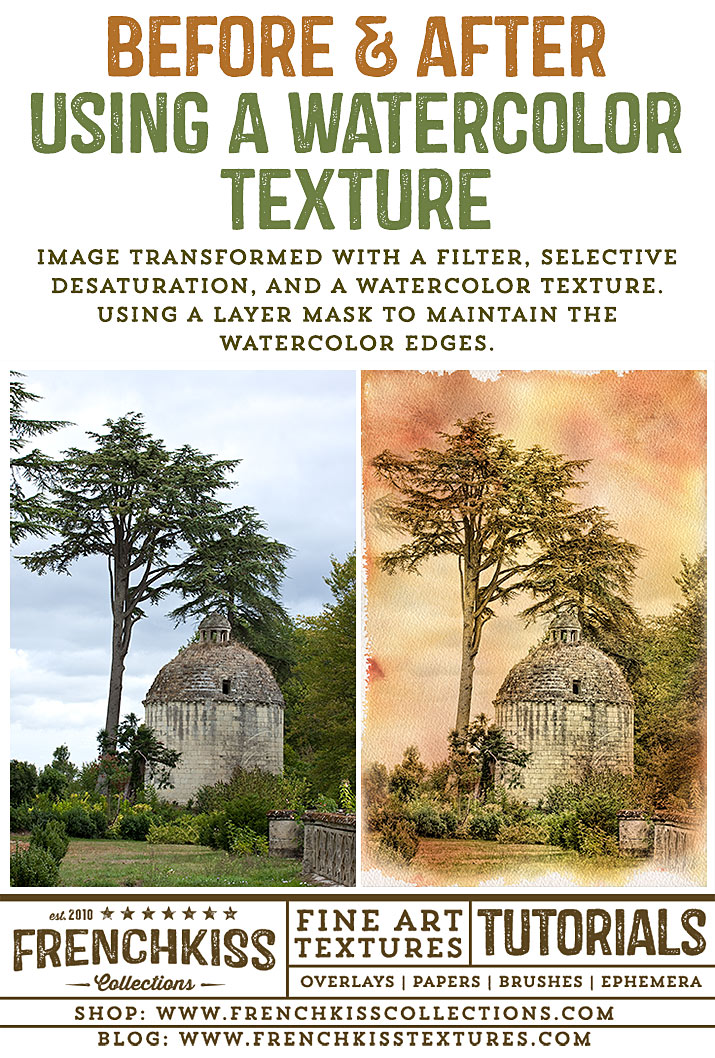 Before and After French Landscape With Watercolor Texture.