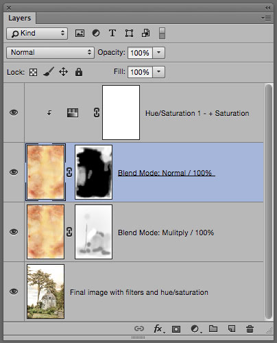 Photoshop layer panel for Texture