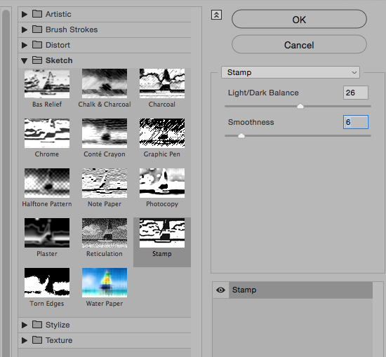Photoshop Sketch Stamp settings